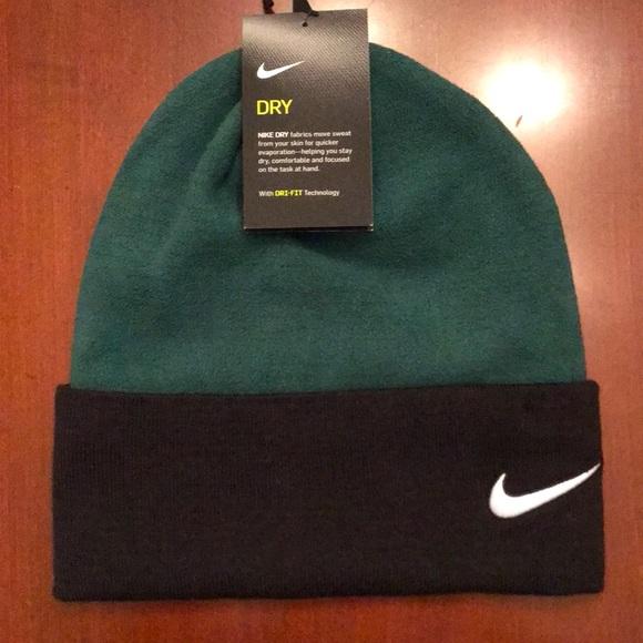 Brand New Nike Dri-Fit Green & Black Beanie Hat